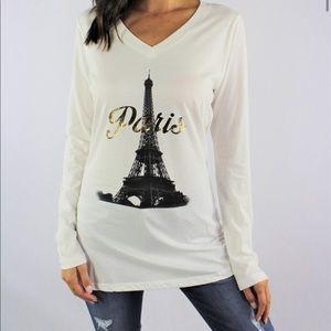 Paris Graphic Long Sleeve Cream V-Neck T-Shirt